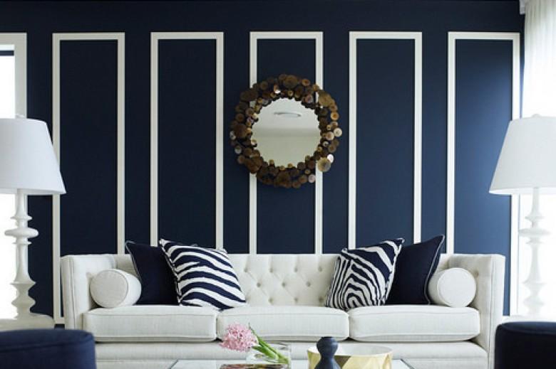 Námořnická modrá a bílá - stěna a gauč