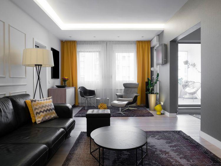 Žluté závěsy do obýváku