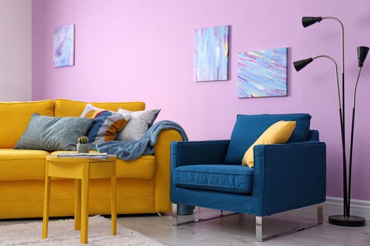 Žluto-modrý obývací pokoj