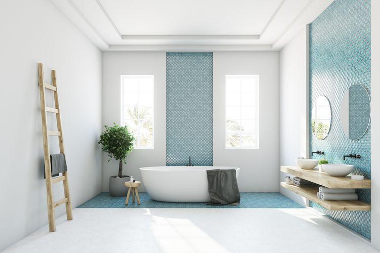 Modrý detail v koupelně
