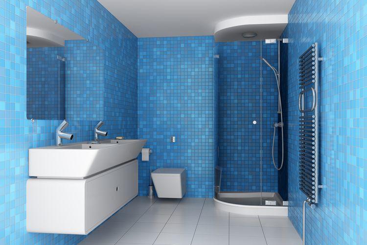 Modrá barva v koupelně