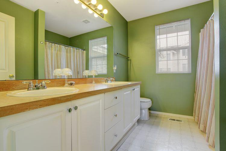 Koupelna laděna do zelené