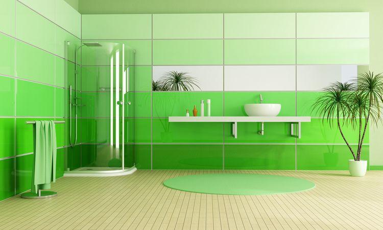 Koupelna se zelenými stěnami