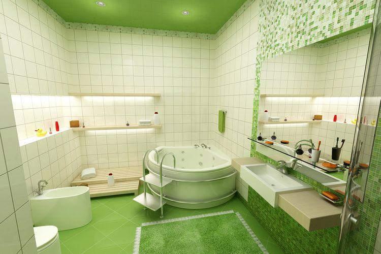 Zelená v koupelně