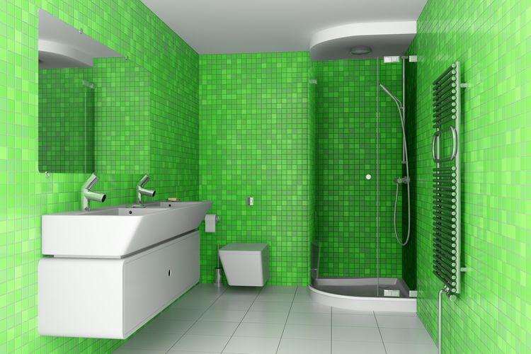 Zelené obkladačky v koupelně