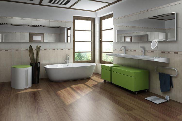 Zelené koupelnové skříňky