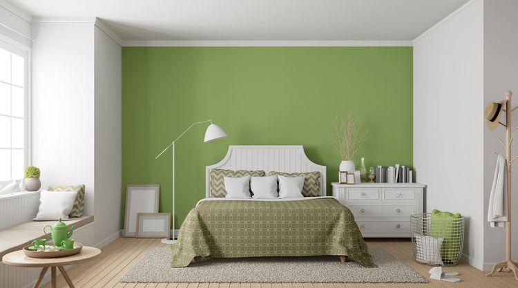 Ložnice laděná do zelené