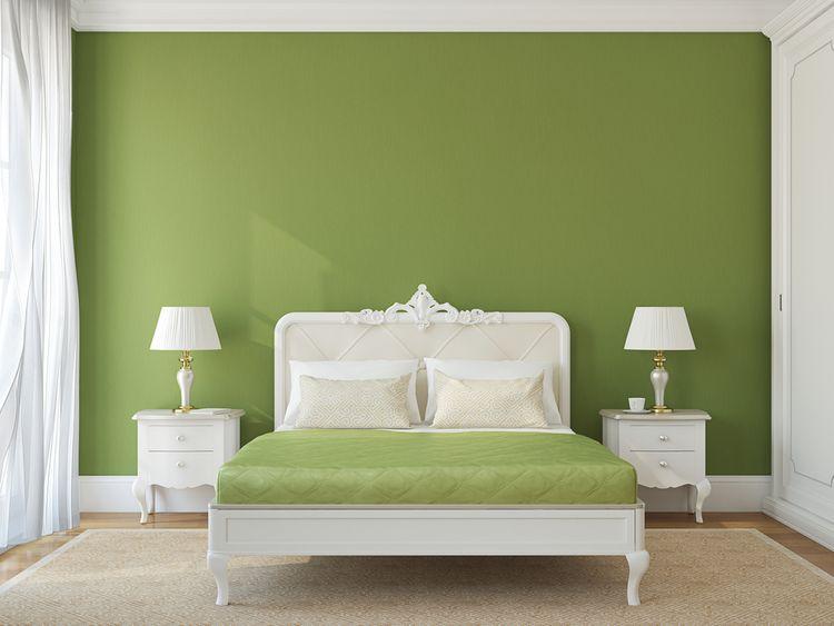 Zelená v ložnici
