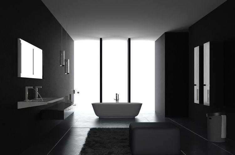 Černá koupelna s bílou vanou
