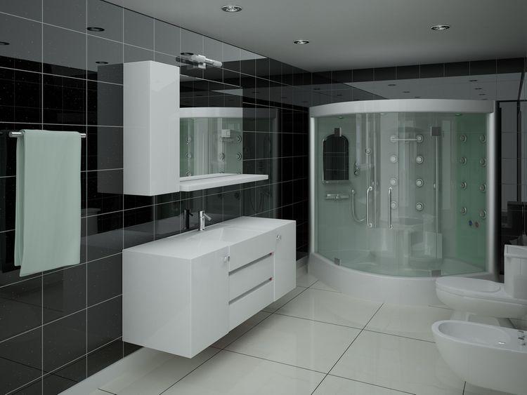 Koupelna s černými lesklými stěnami