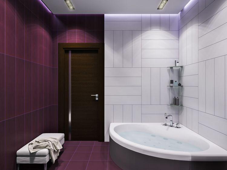 Fialovo-bílá koupelna