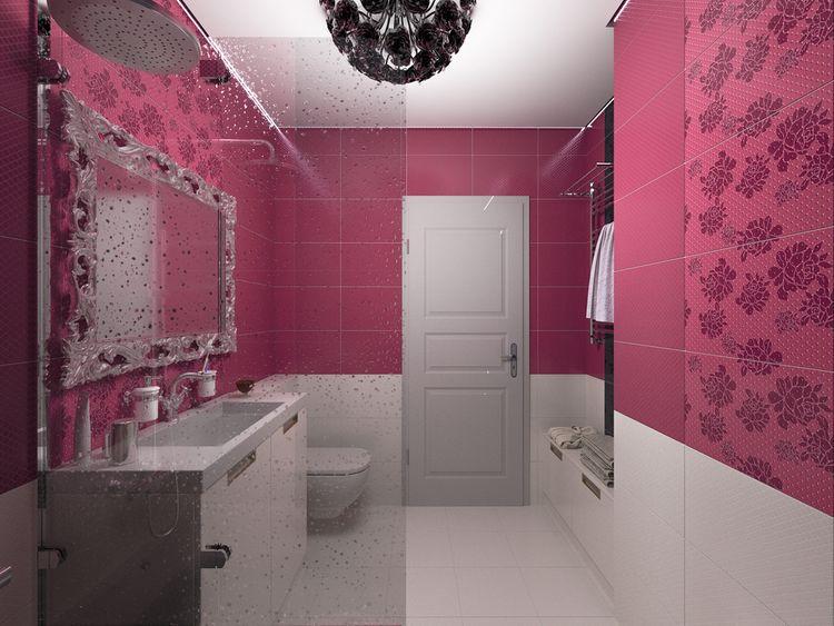Fialovorůžová koupelna