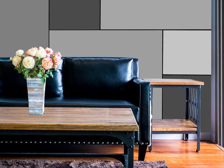 Obývák s černým gaučem