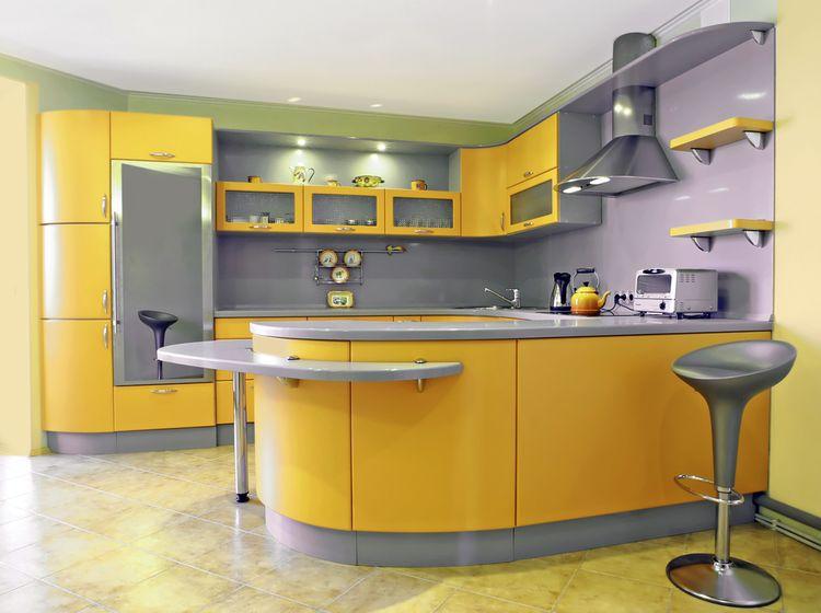 Výrazně žlutá kuchyň
