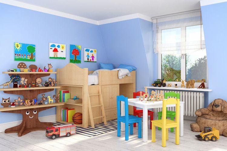 Dětský pokoj s modrými stěnami