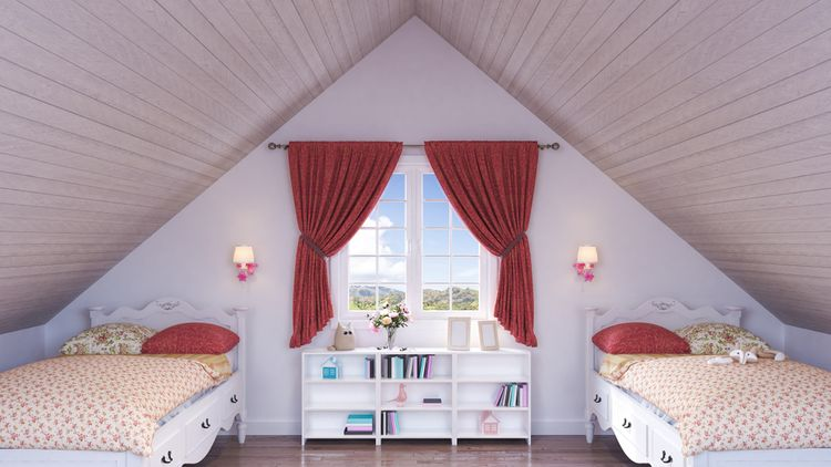 Podkrovní dětský pokoj se dvěma postelemi