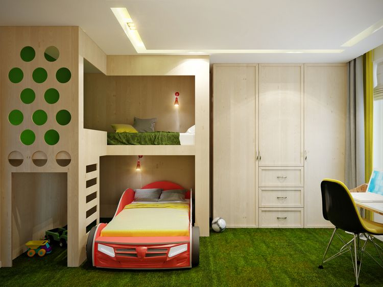 Dětský pokoj se zeleným kobercem a postelí ve tvaru auta