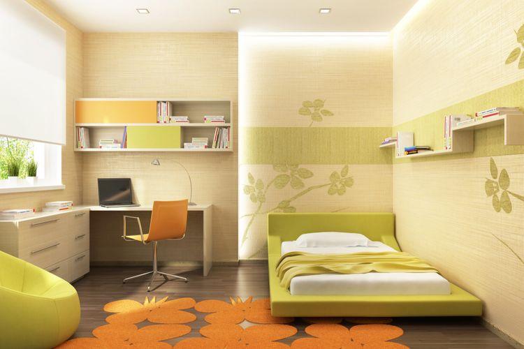 Dětský pokoj se zelenými detaily