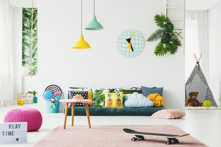 Dětský pokoj se zelenými doplňky