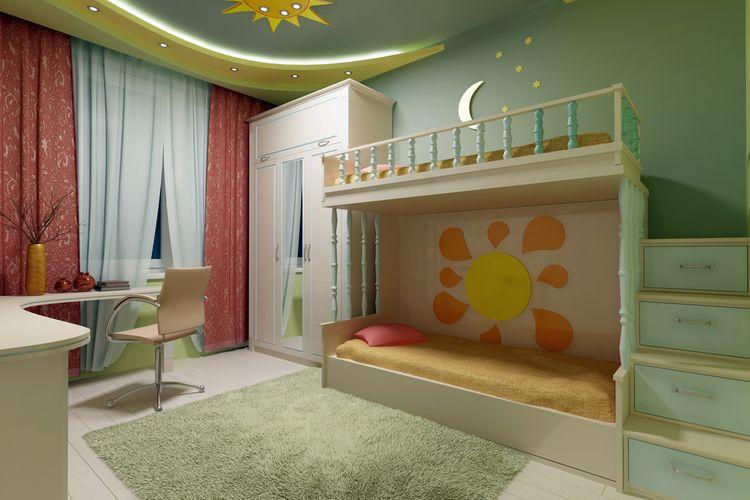Zelený dětský pokoj s palandou