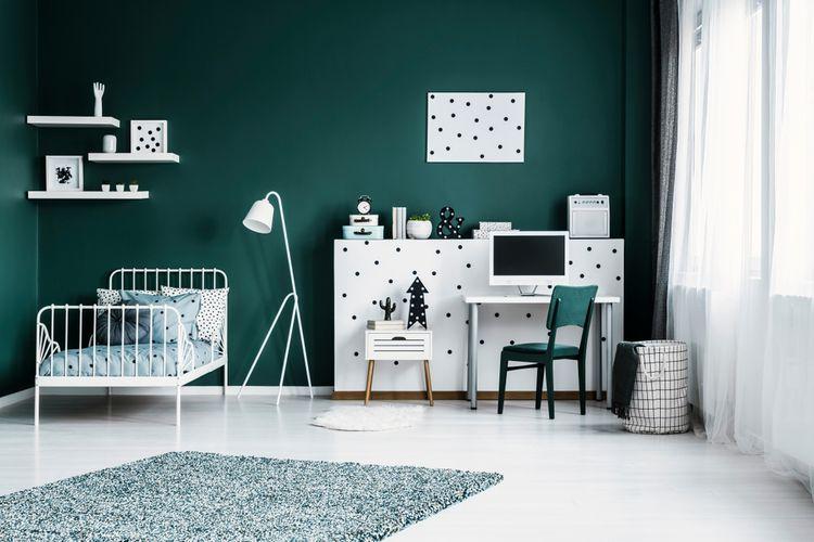 Zeleno-bílý dětský pokoj