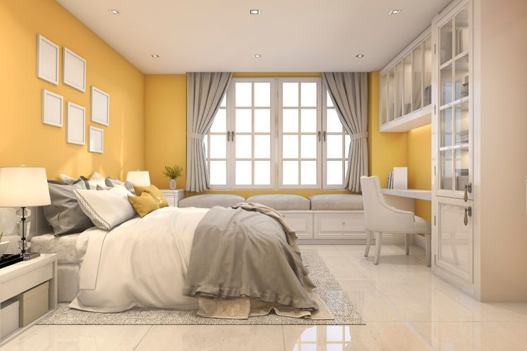 Žluto-bílá ložnice