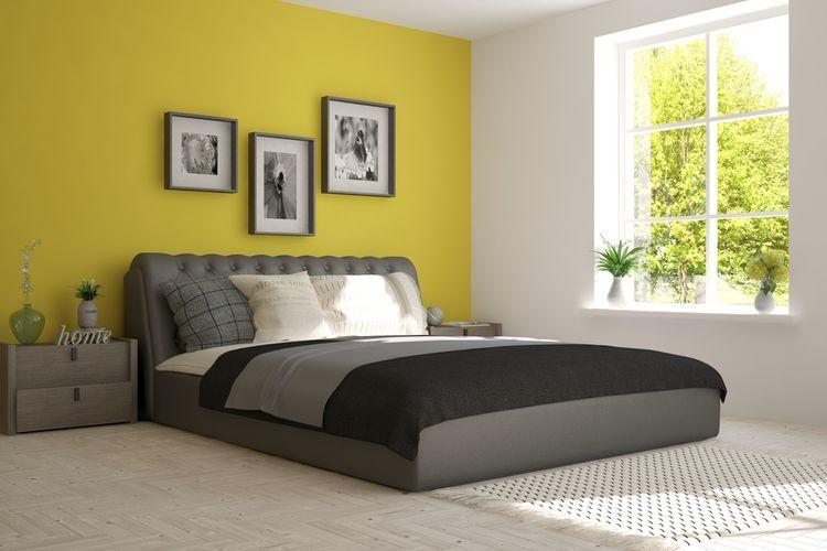 Žluto-šedá ložnice