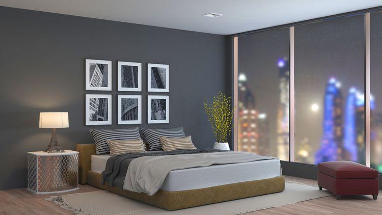 Hnědo-šedá ložnice