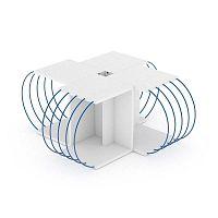 4dílný variabilní konferenční stolek s modrými detaily Sam