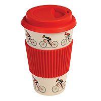 Bambusový cestovní hrnek s červenými detaily Rex London Le Bicycle, 400ml
