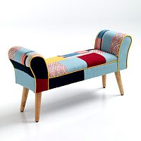 Barevná lavice s nohami z dubového dřeva Tomasucci Kaleidos