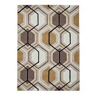 Béžový koberec Think Rugs Hong Kong Hexagon, 90 x 150 cm