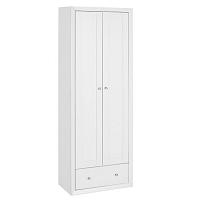 Bílá dřevěná dvoudveřová šatní skříň Støraa Napoli