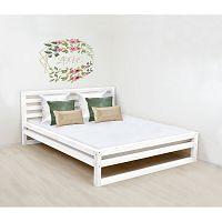 Bílá dřevěná dvoulůžková postel Benlemi DeLuxe, 200x200cm