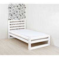 Bílá dřevěná jednolůžková postel Benlemi DeLuxe, 190x80cm
