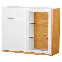 Bílá dvoudveřová komoda s 1 zásuvkou, pravou poličkou a detaily ve dřevěném dekoru Szynaka Meble Salvo