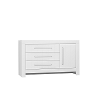 Bílá jednodveřová komoda se 3 zásuvkami Pinio Calmo