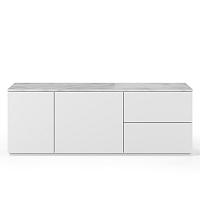 Bílá komoda s deskou z bílého mramoru s 2 šuplíky a 2 dvířky TemaHome Join