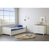 Bílá postel s šuplíkem na matraci pro hosta Marckeric Madi, 90 x 190 cm