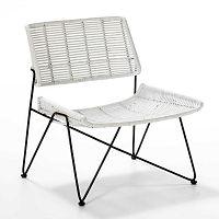 Bílá proutěná židle Thai Natura, výška 73cm
