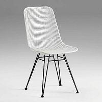 Bílá proutěná židle Thai Natura, výška 88cm