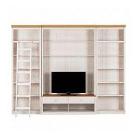 Bílá TV stěna s hnědými detaily z borovicového masivu Støraa Annabelle, šířka219cm