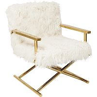Bílé křeslo s detaily ve zlaté barvě Kare Design Mr Fluffy
