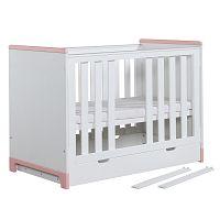 Bílo-růžová dětská postýlka Pinio Mini, 120x60cm