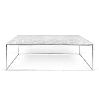 Bílý mramorový konferenční stolek s chromovými nohami TemaHome Gleam, 120 cm