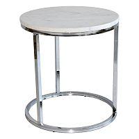 Bílý mramorový odkládací stolek s chromovaným podnožím RGE Accent, ⌀50cm