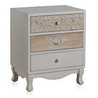 Bílý noční stolek se 3 zásuvkami Geese Pattern