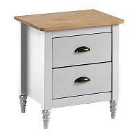Bílý noční stolek z masivního borovicového dřeva se 2 zásuvkami Marckeric Joyce