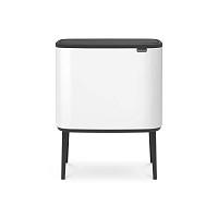Bílý odpadkový koš se 3 vnitřními přihrádkami Brabantia Touch, 3x11l