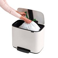 Bílý odpadkový pedálový koš Brabantia Bo, 36l